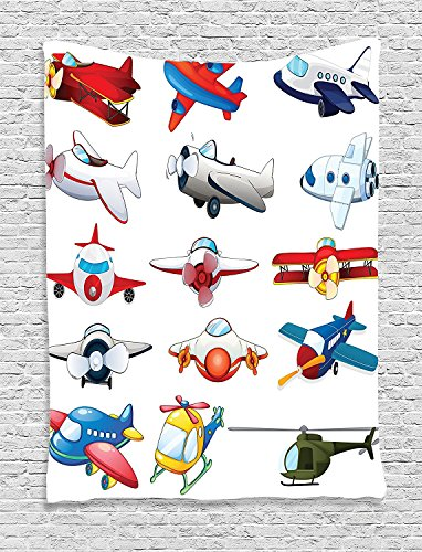 Airplane Collection Different Kind of Planes Toys Amusement Automated Childhood Cartoon Machine Image Red Blue White Supersoft Throw Fleece Blanket 59.05x59.05 Inches