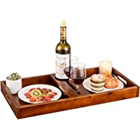 Serving Tray with Handles Wooden Ottoman Tray Outdoor Wine Picnic Table Glasses & Bottle, Snack and Cheese Holder Tray…