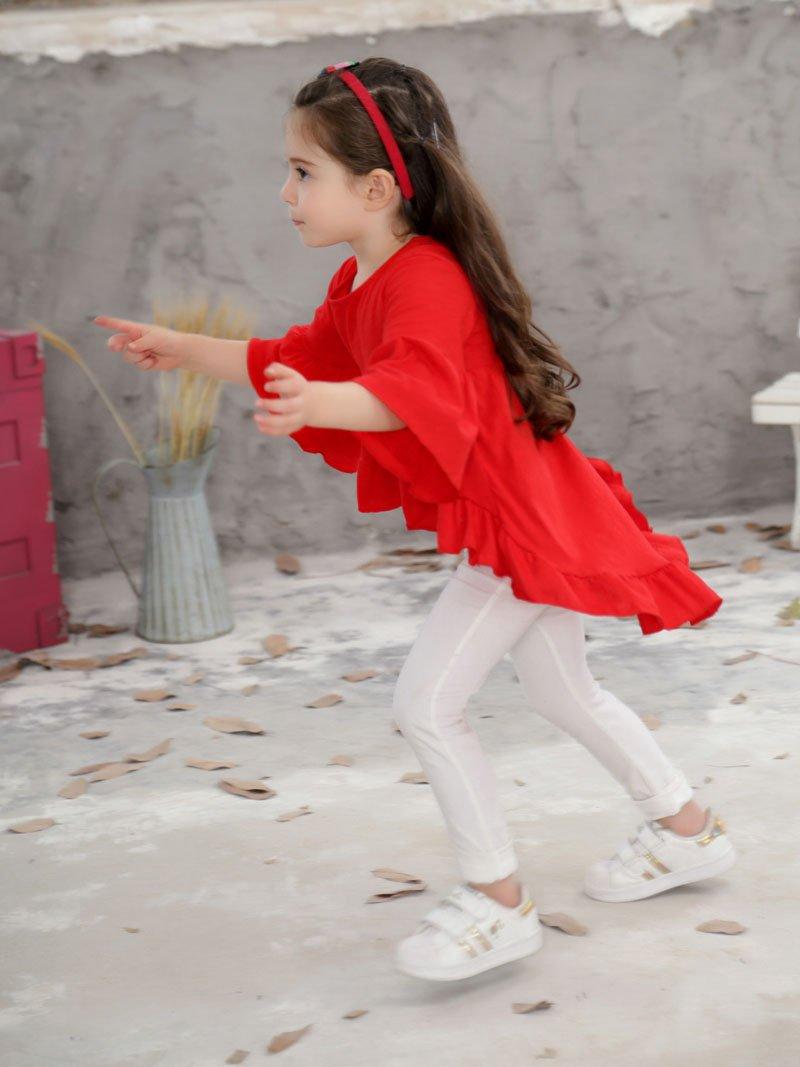 Skuleer(TM) Hot Loose White Girls T Shirt Ruffle Sleeves Cotton Children T-Shirt Beach Kids Tees Tops 3 Colors [ Red 12M ]