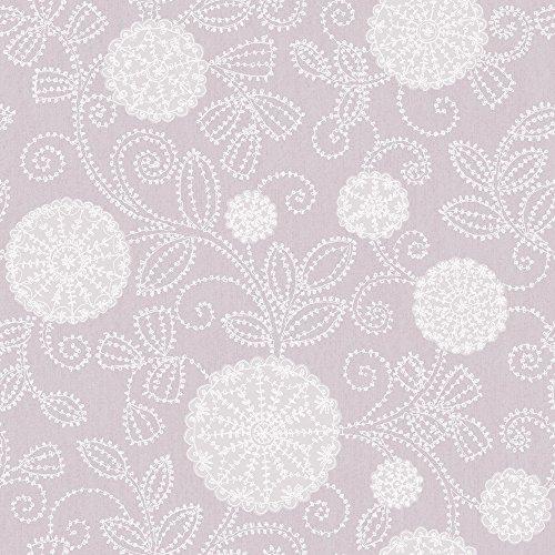 Silent Nature 9090 Vlies-Tapete florales Ornament mit Blättern weiß Silber zart-rosa