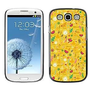 X-ray Impreso colorido protector duro espalda Funda piel de Shell para SAMSUNG Galaxy S3 III / i9300 / i747 - Yellow Happy Upbeat Pattern