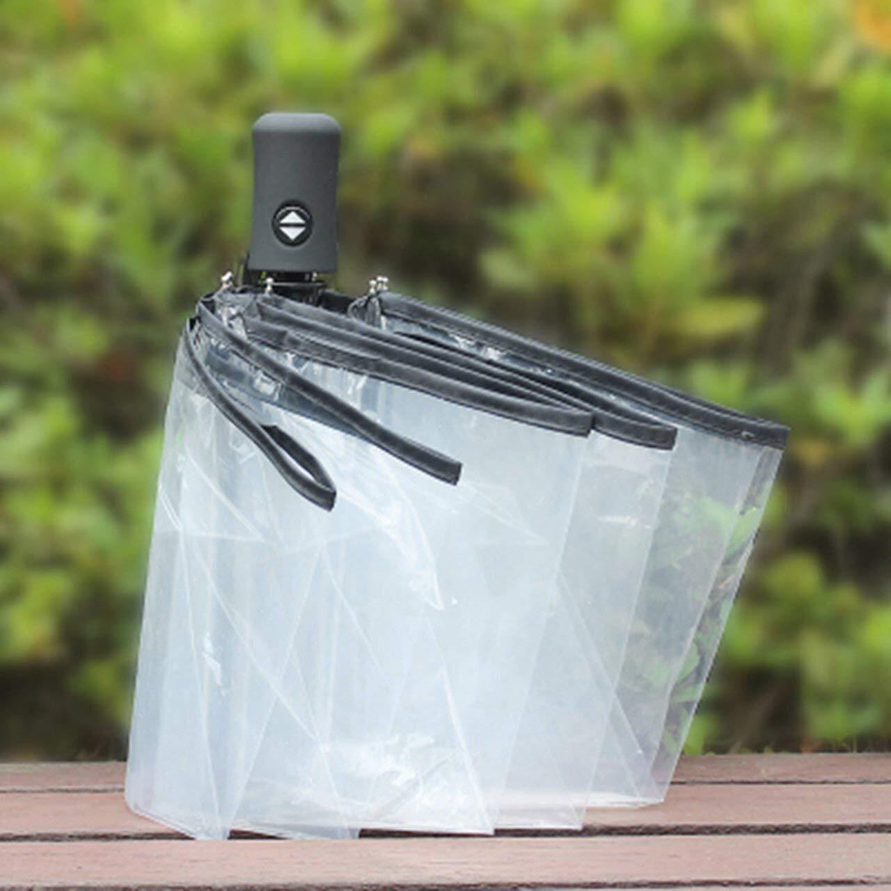 Zihuist Ombrello Compatto Completamente Automatico Tre Ombrelli Trasparenti Antivento Pieghevoli Donna Uomo 8 Costole Ombrello Trasparente Antipioggia Trasparente Ombrello Portatile