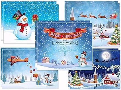Foto Divertenti Di Natale.10 Divertenti Cartoline Di Natale Per Famiglie Con Bambini 5 Diversi Motivi Del Pupazzo Di Neve X 2 Pezzi Arte Ingenua Dipinta Con Cura