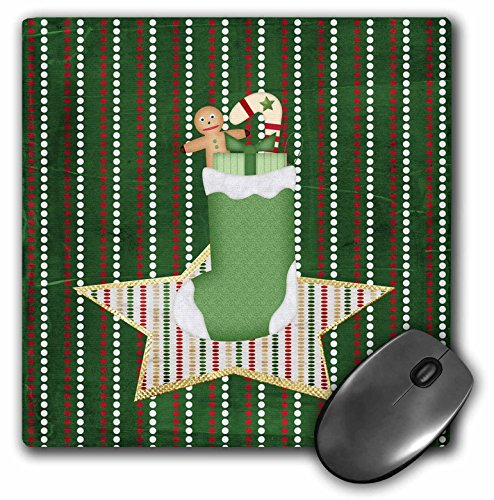 3dRose Beverly Turner Christmas Design - Stocking Filled with Gingerbread boy, Candy Cane, and Present on Star - Mousepad ()