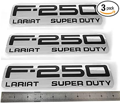 3x OEM F250 International Emblems Fender F for Ford F-250 Pickup Chrome Black