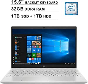 2020 HP Pavilion 15.6 Inch FHD 1080P Touchscreen Laptop (Intel Core i7-1065G7 up to 3.9GHz, 32GB DDR4 RAM, 1TB SSD (Boot) + 1TB HDD, Intel Iris Plus, Backlit KB, HDMI, WiFi, Bluetooth, Win10)