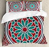 Arabian Duvet Cover Set by Ambesonne, Elegant Islamic Original Old Style Ornate Persian Pattern with Victorian Artsy, 3 Piece Bedding Set with Pillow Shams, King Size, Red Grey Teal