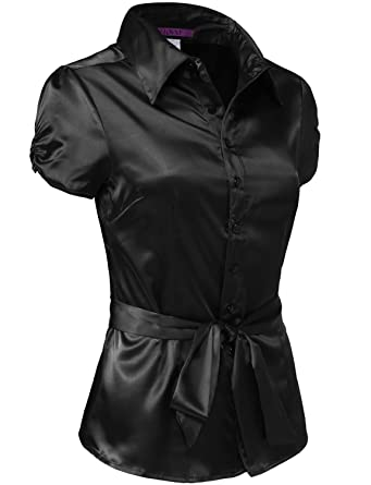 f1aead70 J. LOVNY Womens Light Weight Long Cuff Sleeve Button Down Satin Shirt S-3XL  at Amazon Women's Clothing store: