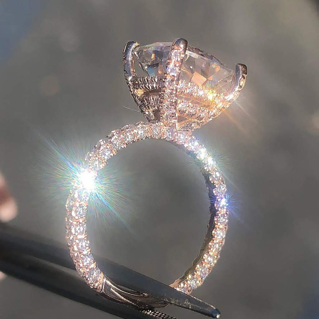 FEDULK Womens Luxury Rhinestone Rings Bright Zirconia Unique Crystal Wedding Statement Promise Ring