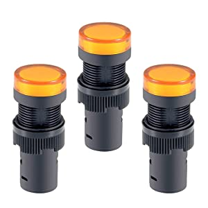 uxcell 3Pcs Yellow Indicator Light AC/DC 24V, 16mm Panel Mount, for Electrical Control Panel, HVAC, DIY Projects