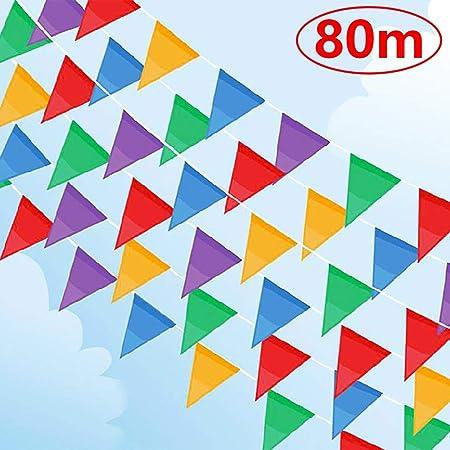 Gudotra 150pcs Banderas Triangulares de Nylon para Decoración de Fiesta Boda Cumpleaños Celebracion Navidad Escuela Jardín (150pcs)