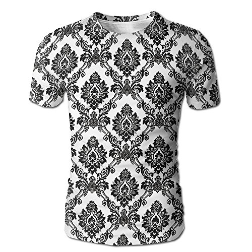 JeanCo Mens Damask Antique Classical Damask Flowers Pattern Traditional Artwork Funny Tees White - White City Suspenders Party