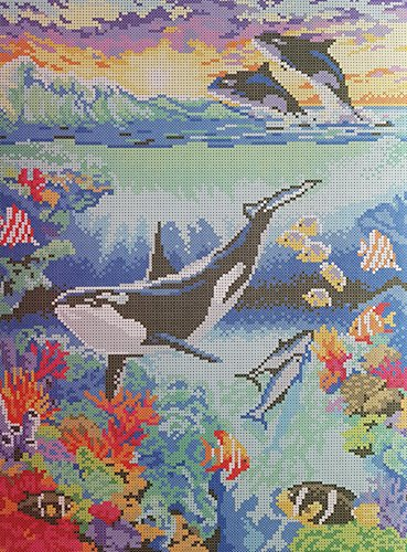 Bead Needlepoint Handcraft kit, Sea Life, Beaded Cross Stitch, Whale, Beaded Stitching, Modern Embroidery, Tapestry kit, DIY Wall ()