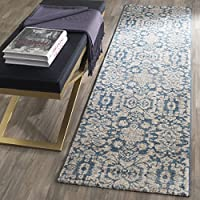 Safavieh Sofia Collection SOF386C Vintage Blue and Beige Distressed Runner (22 x 8)