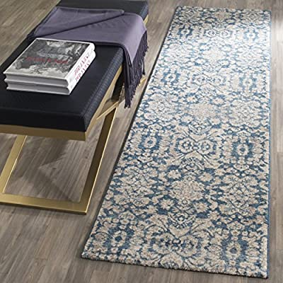 "Safavieh Sofia Collection SOF386C Vintage Blue and Beige Distressed Runner (2'2"" x 8') - The high-quality polypropylene pile fiber adds durability and longevity to these rugs The power loomed construction add durability to this rug, ensuring it will be a favorite for a long time The modern style of this rug will give your room a contemporary accent - runner-rugs, entryway-furniture-decor, entryway-laundry-room - 615i D955XL. SS400  -"