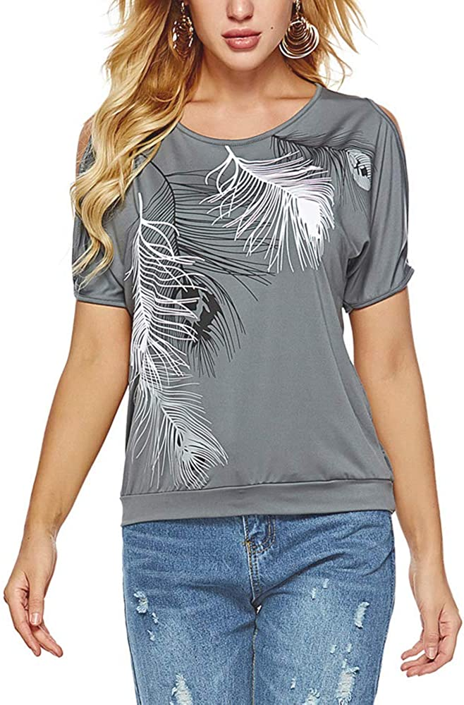 Camiseta de manga corta para mujer nobrands hombros descubiertos talla grande tallas S-5XL dise/ño de plumas cuello redondo