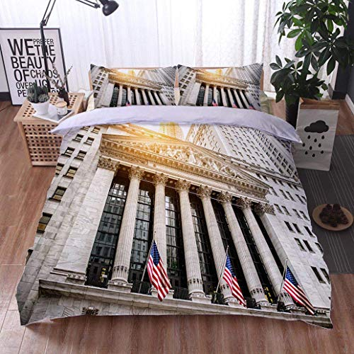 VROSELV-HOME Cotton Bedding Sets,New York Stock Exchange Building,Soft,Breathable,Hypoallergenic,Breathable Lightweight Soft 3 Pieces Duvet Cover