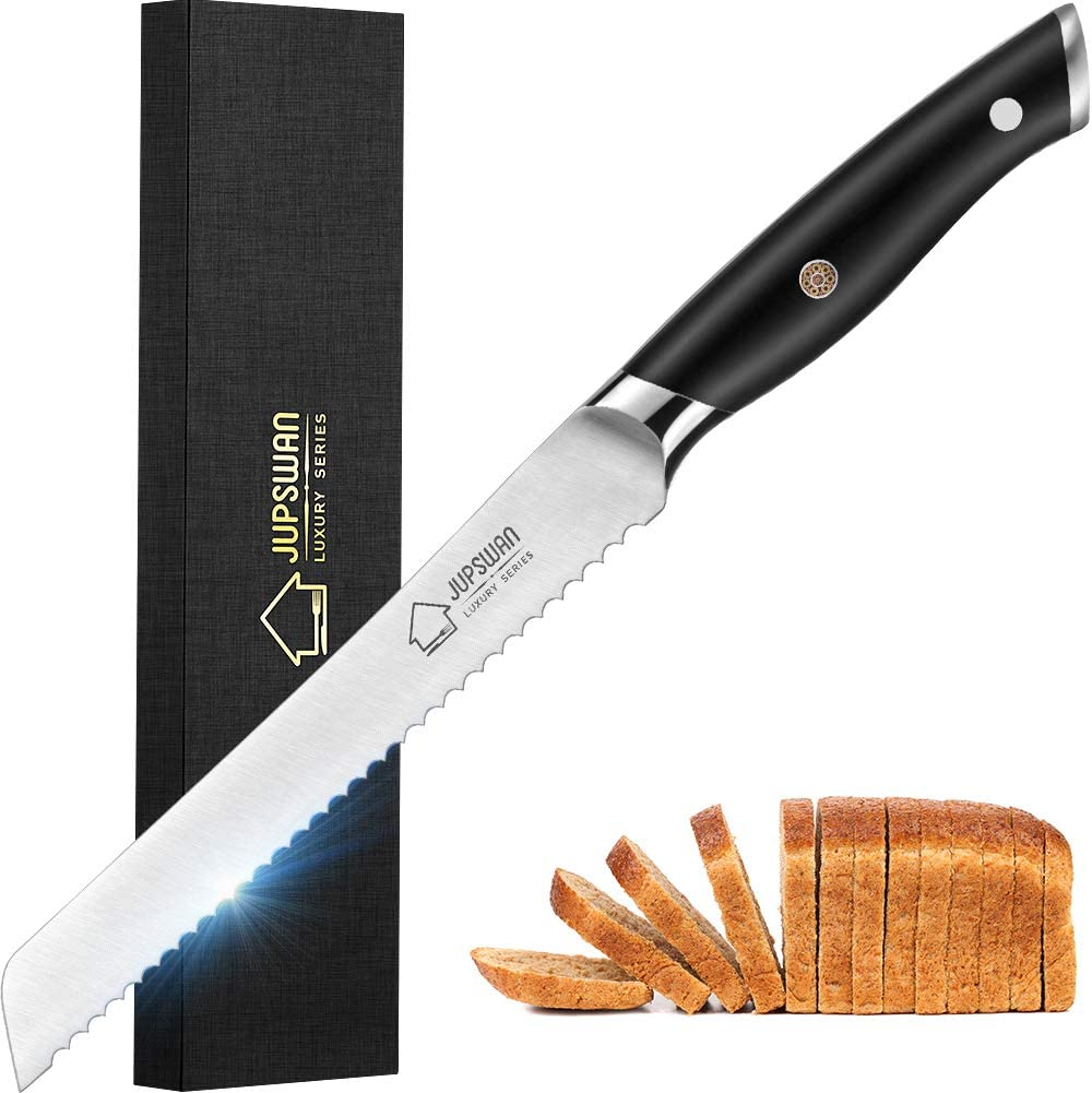 Jupswan Serrated Bread Knife for Homemade Bread Cutting Cake Knives High Carbon Stainless Steel Bread Knives 8 Inch