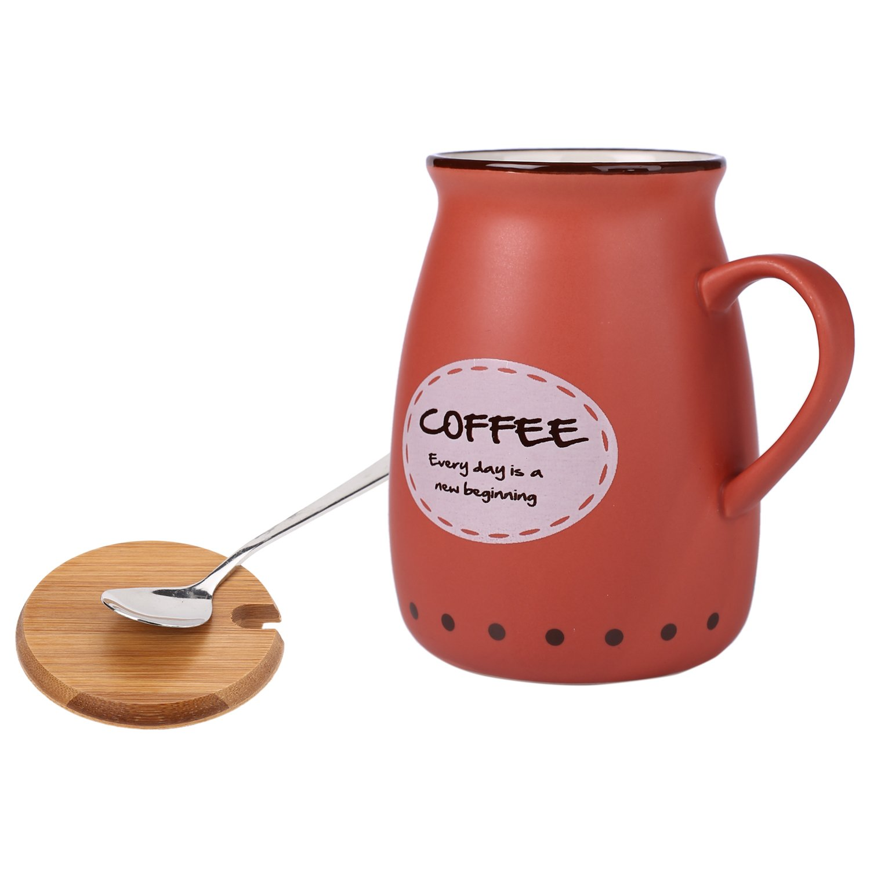4146fc95830 Bje Hot & Cold Ceramic Beverage Mug For Coffee, Tea & Milk, 400 Ml, Red