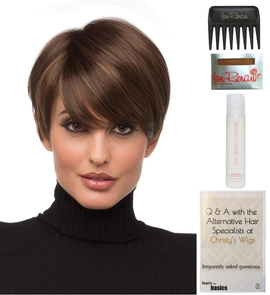 Bundle - 5 items: Kris Wig by Envy, 15 Page Christy's Wigs Q & A Booklet, 2oz Travel Size Wig Shampoo, Wig Cap & Wide Tooth Comb COLOR: Medium Brown
