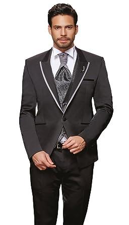 Herren Anzug 8 Teilig Schwarz Grau Hochzeitsanzug Top Angebot