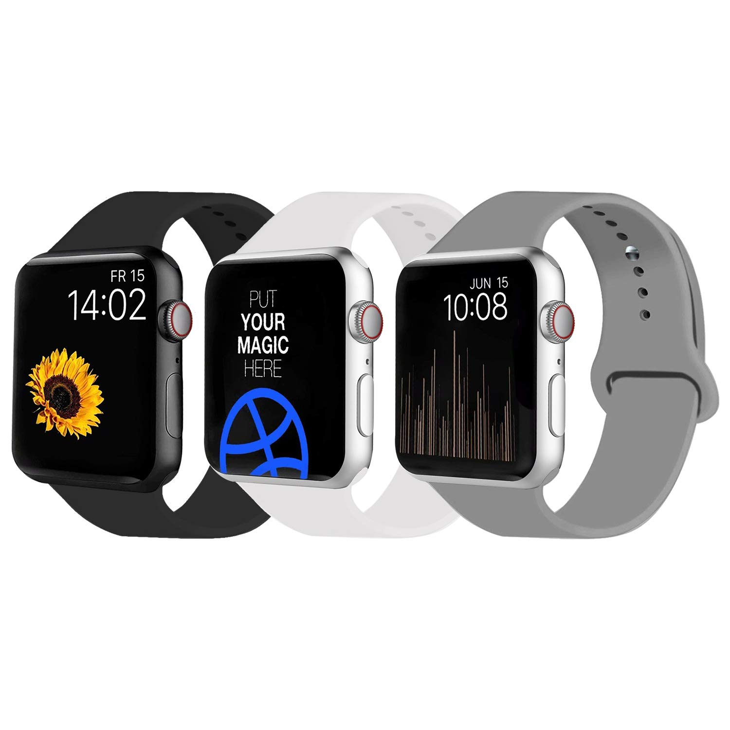 VATI Sport Band Compatible for Apple Watch Band 38mm 40mm, 3-Pack Soft Silicone Sport Strap Replacement Bands Compatible with 2018 iWatch Apple Watch Series 4/3/2/1, 38MM 40MM S/M by VATI
