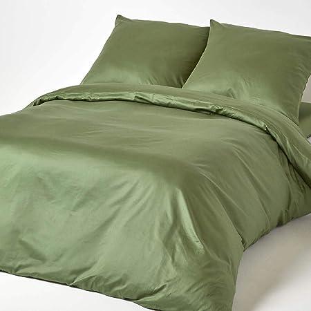 HOMESCAPES - Juego de Cama (3 Piezas, 100% algodón Egipcio, Densidad de Hilo 330), 100% algodón, Verde Musgo, 155 x 200 cm: Amazon.es: Hogar