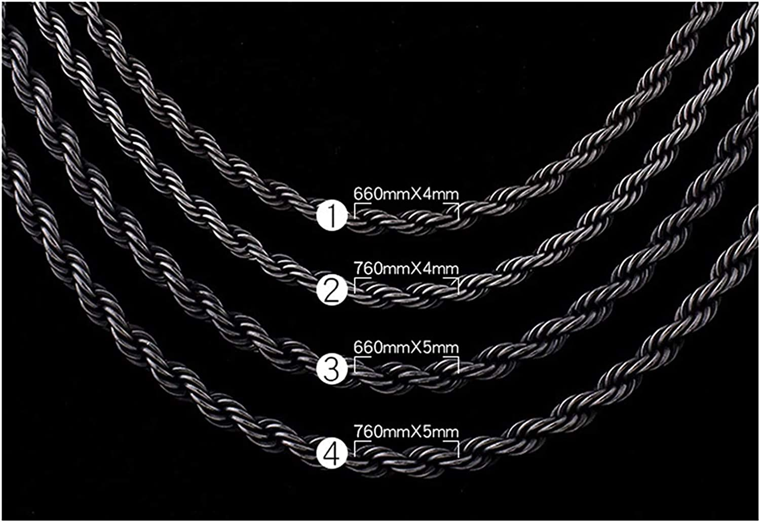 LOPEZ KENT Men Stainless Steel Chain Necklace Wheat Chain Necklace Black
