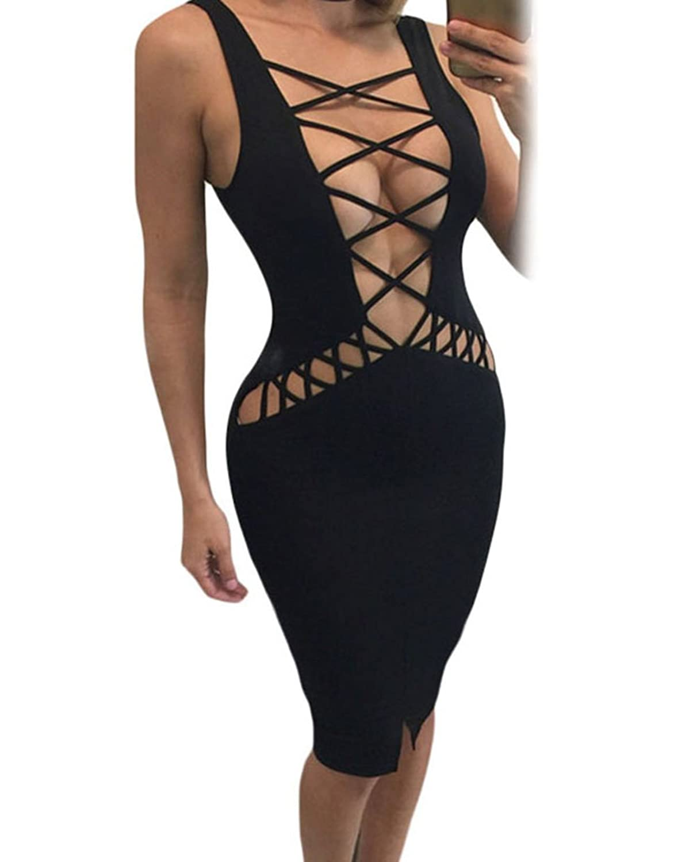 YeeATZ Black Sexy Lace Up Tank Midi Dress