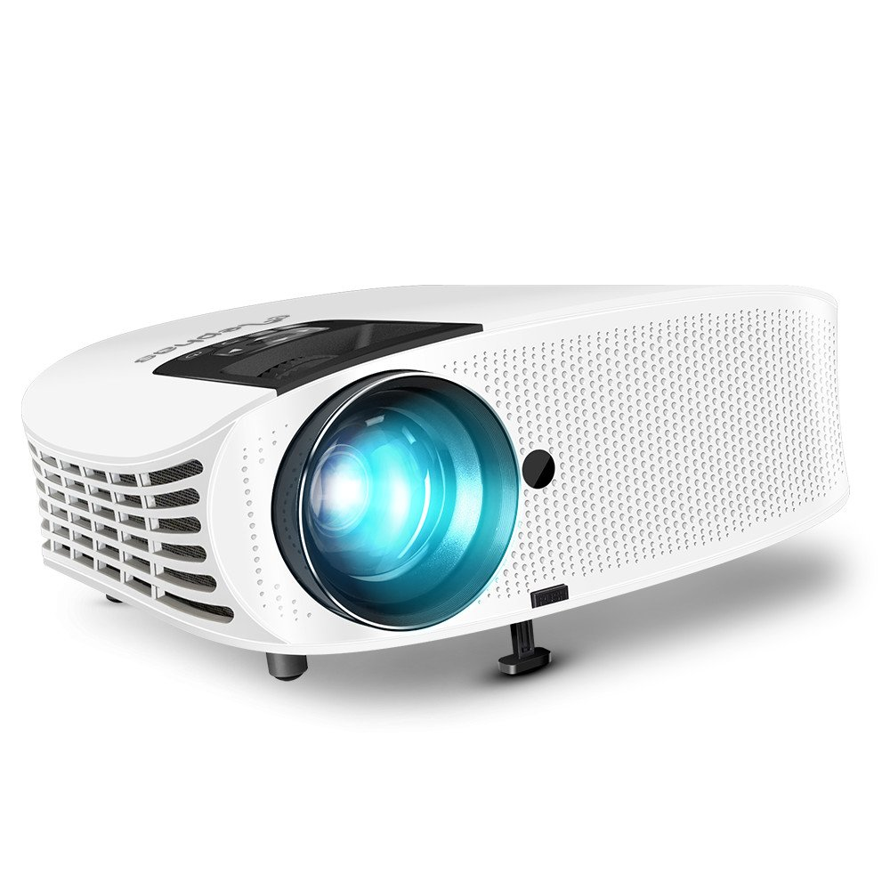 Projector, ELEPHAS [2018 Upgraded Version] 1080P 200'' LCD Video Projector Support HDMI VGA AV USB Micro SD Ideal for Home Theater Entertainment Party and Games, White