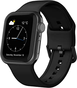 Adepoy Compatible with Apple Watch Bands 44mm 42mm 40mm 38mm, Soft Silicone Sport Wristbands Replacement Strap with Classic Clasp for iWatch Series SE 6 5 4 3 2 1 for Women Men, Black 38/40mm