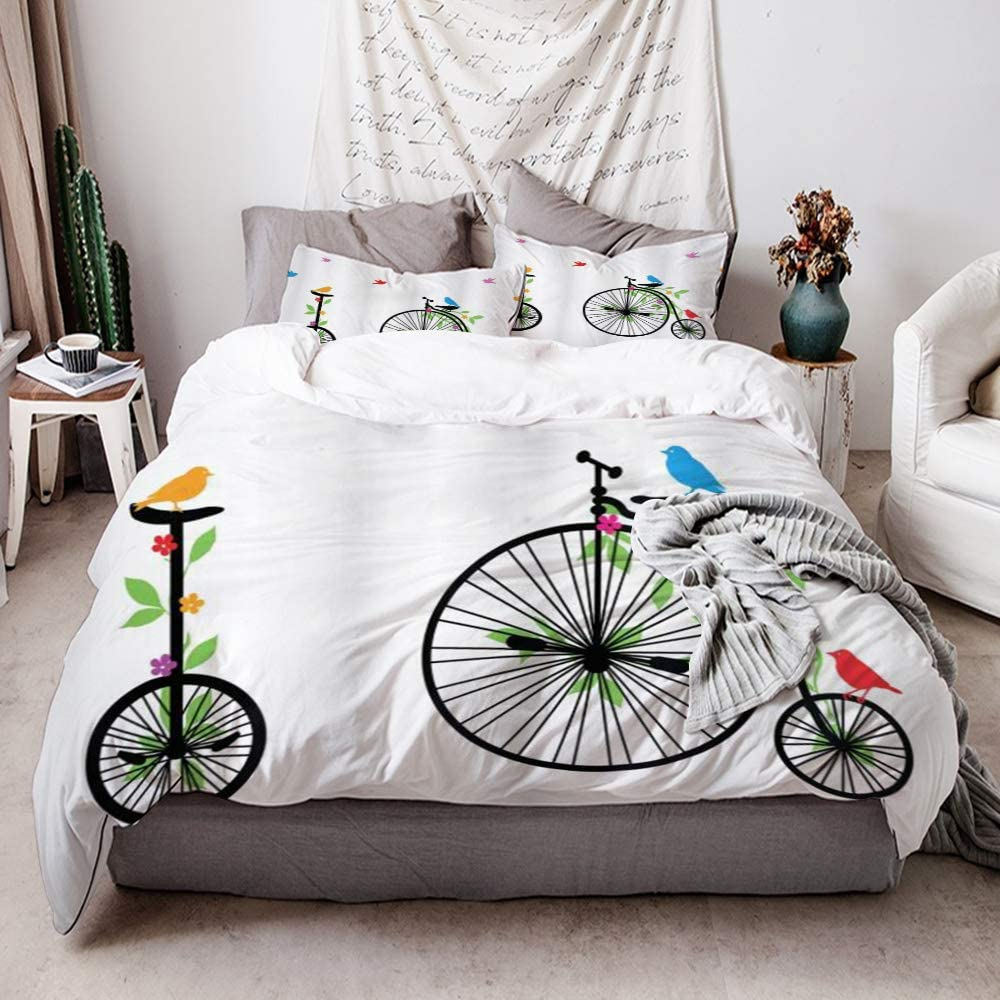ZOMOY Duvet Cover Set, Bicycle Flying Birds and Flowers on Old Single Wheel Bikes Happiness and Joy Pedals Graphic, Decorative 3 Piece Bedding Set with 2 Pillow Shams
