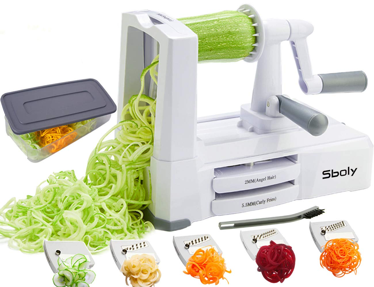 Vegetable Spiralizer Vegetable Slicer with 5 Blades, Zucchini Spaghetti Maker Zoodle Maker Veggie Pasta Maker, Strongest and Heaviest Duty Mandoline Slicer with Container, Lid, Brush by Sboly