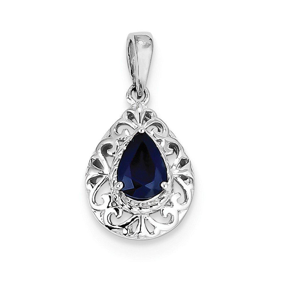 Sterling Silver Rhodium Plated Sapphire Teardrop Pendant