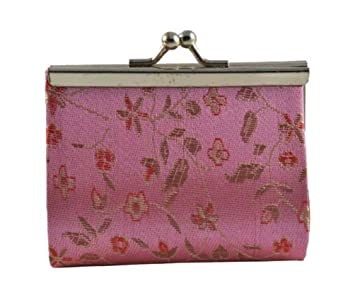 Amazon.com: Cambio Chino Rosa Seda Brocade Coin Purse/Moneda ...
