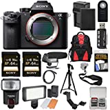 Sony Alpha A7S II 4K Wi-Fi Digital Camera Body with (2x) 64GB Cards + Battery & Charger + Backpack + Flash + LED + Mic + Tripod + Kit
