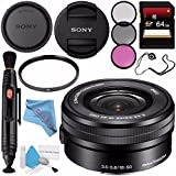 Sony E PZ 16-50mm f/3.5-5.6 OSS Lens SELP1650 + 40.5mm 3 Piece Filter Kit + 64GB SDXC Card + Lens Pen Cleaner + Fibercloth + Lens Capkeeper + Deluxe Cleaning Kit Bundle