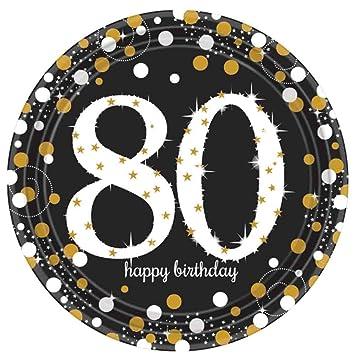 Amazon.com: 80th Fiesta de cumpleaños platos de papel | 80 ...