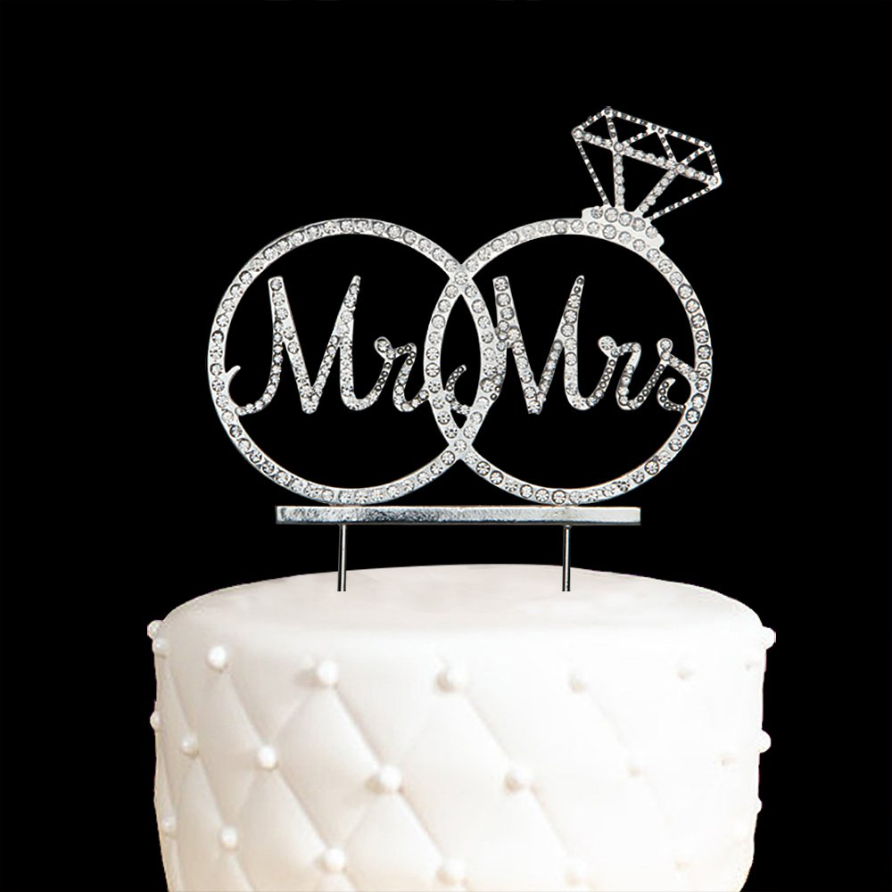 Mr & Mrs Cake Topper For Wedding Anniversary Rings Crystal Rhinestone Party Decoration (Silver)