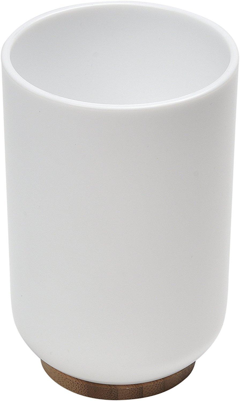 EVIDECO Vanity Bathroom Water Tumbler Padang White-Bamboo Base, White,Brown Tendance 6174210