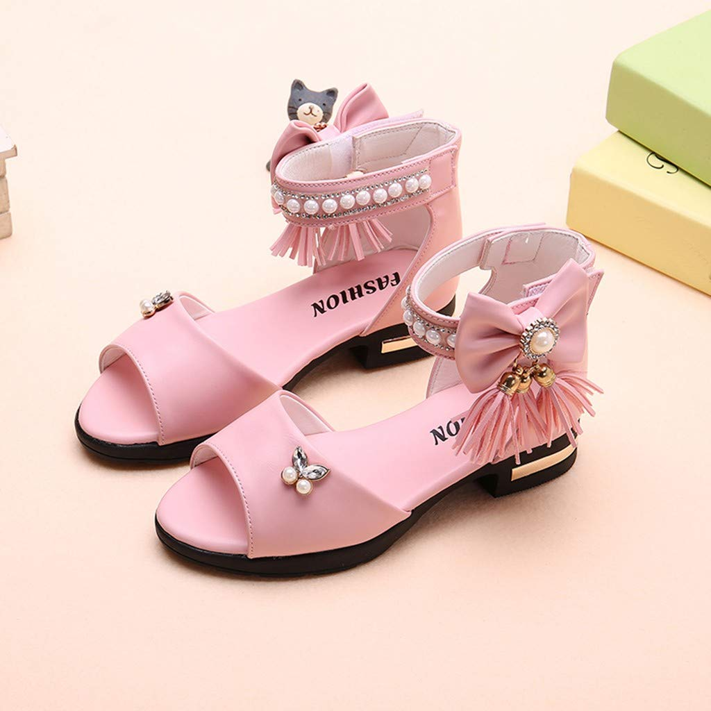 Sandalias Ni/ña Verano 2019 Zapatos Ni/ña Princesa de Vestir para Fiesta Boda Playa Talla 26-36 Perla de Arco con Flecos Zapatos Ni/ña Tacon Brillantina de Baile Latino