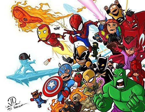 1/2 Sheet Avengers Comic Cartoon Ironman Hulk Captain Ame...
