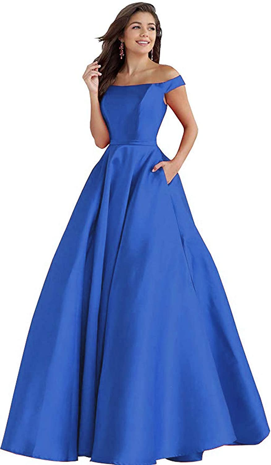 bluee Rmaytiked Womens Off The Shoulder Long Prom Dresses Satin A Line Formal Evening Ball Gowns with Pockets 2019 New