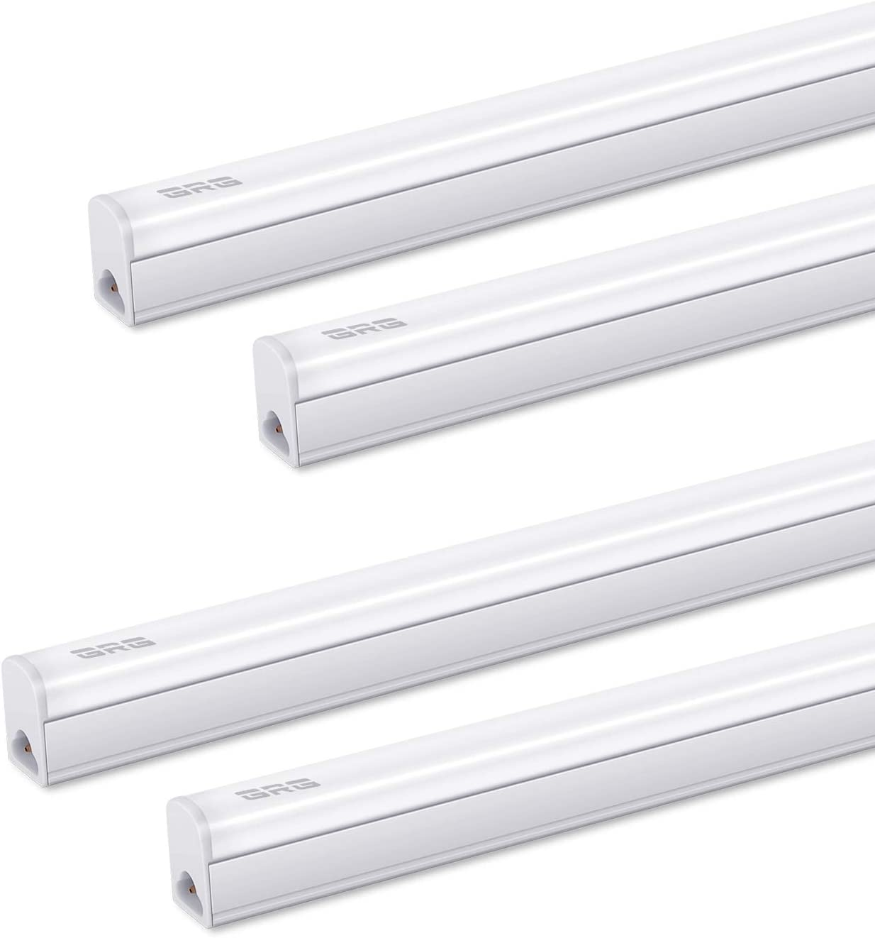 Pack of 4 GRG LED T5 Integrated Single Fixture, 3Ft 15W 1650lm 6500K, Linkable Utility Shop Light, Garage Light, LED Ceiling Under Cabinet Light, T5 T8 Fluorescent Tube Light Fixture Replacement