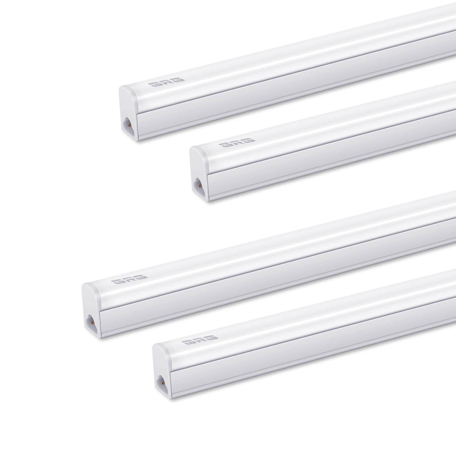 (Pack of 4) GRG LED T5 Integrated Single Fixture, 3Ft 15W 1650lm 6500K, Linkable Utility Shop Light, Garage Light, LED Ceiling & Under Cabinet Light, T5 T8 Fluorescent Tube Light Fixture Replacement by GRG