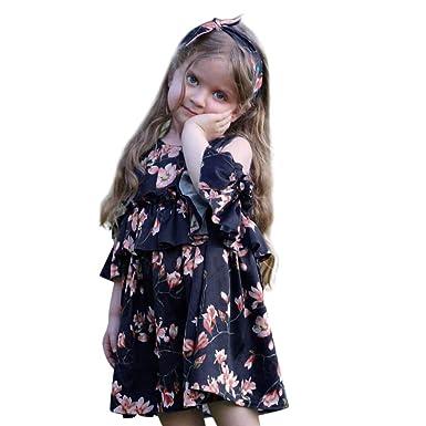 Toddler Kids Baby Girls Summer Off Shoulder Floral Princess Dress Cotton Dresses