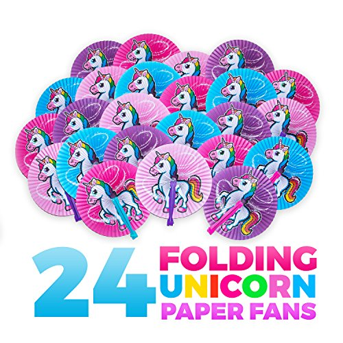 M & M Products Online Unicorn Party Supplies: 24 Folding Unicorn Paper Fans - Variety of Colors & Designs - Perfect for Any Unicorn Birthday Party Décor & Party Favors - Lifetime Replacement -