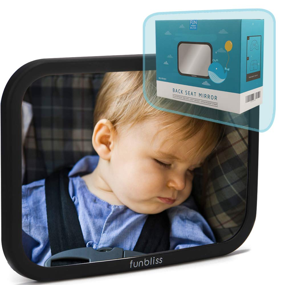 Baby Backseat Safety Mirror for Car, Safely Monitor Infant Child in Rear Facing Car Seat, Best Newborn Car Seat Accessories, Perfect Shower Gift for Mom by Funbliss