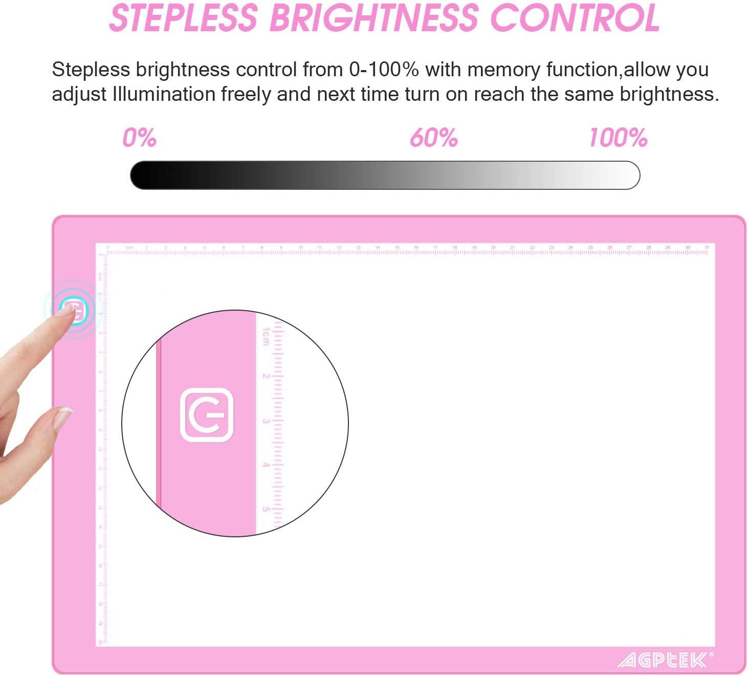 Tavolette Luminose 3 Livelli Regolabile per Disegno Lavagne Luminose A4 Tracing Light Box Ricarica con USB AGPTEK A4 Tavoletta Luminosa con 4 x Magneti Ultralight Light Board Tavolo Disegno