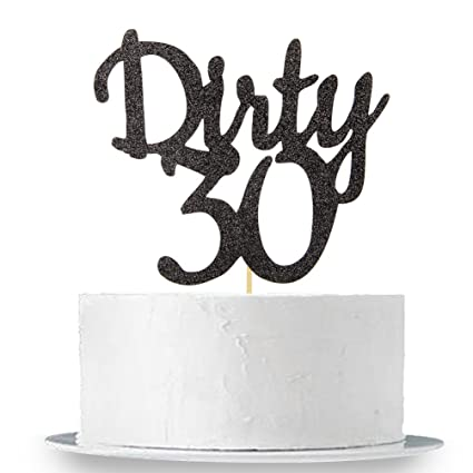 Amazon Black Glitter Dirty 30 Cake Topper
